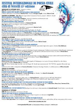 15^ festival internazionale della poesia civile - Vercelli 2019